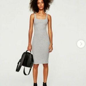 Zara Pinstripe Body Con Midi Dress